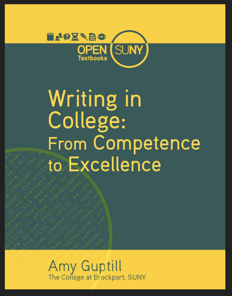 """Book cover for """"Writing in College"""""""