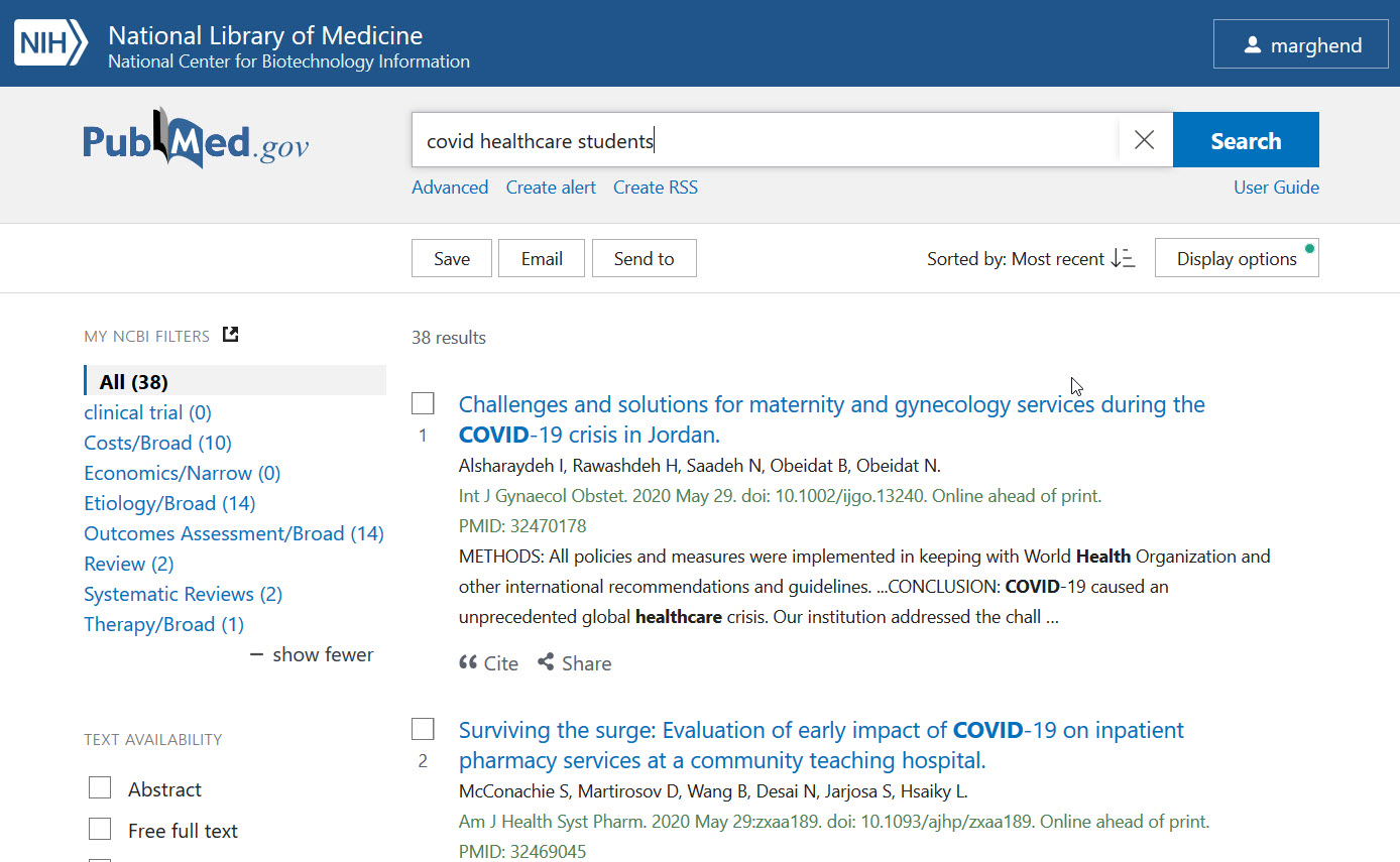 PubMed Search results for -  coivd healthcare students