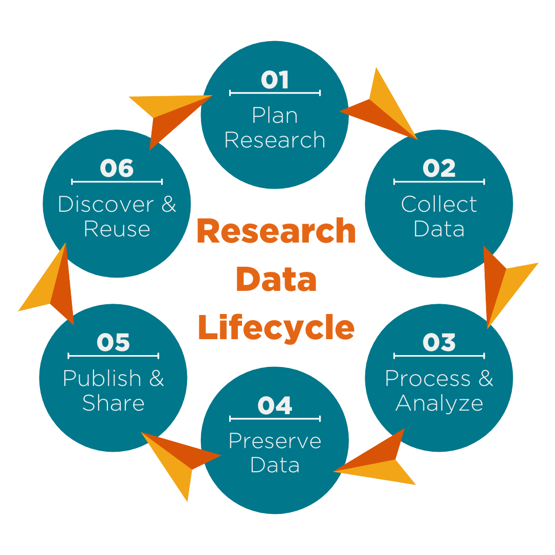 Graphic of the lifecycle of data - plan, collect, process, preserve, publish, and reuse