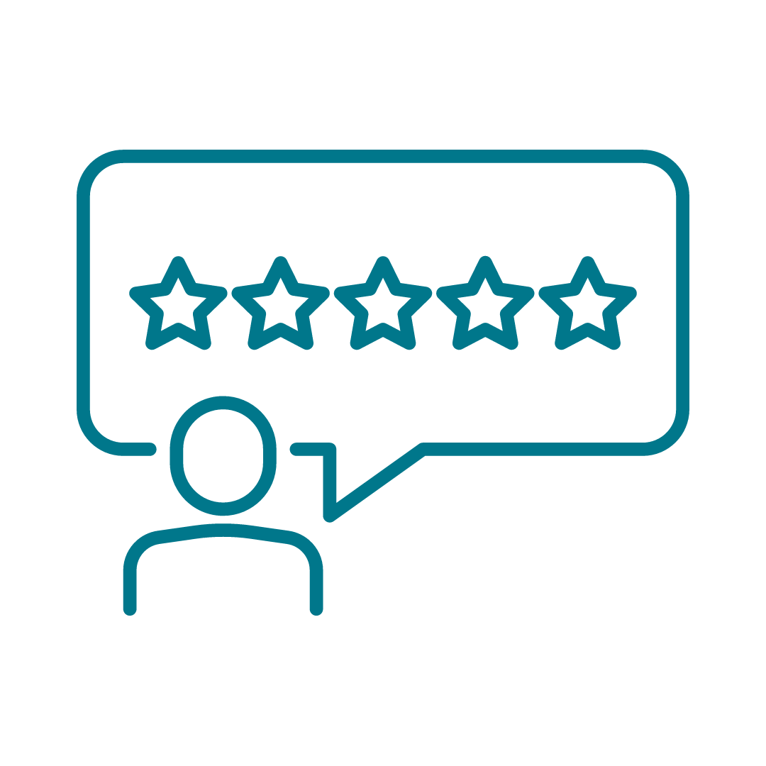 Graphic of person giving review