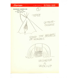 Sketch of a tepee and a wickiup