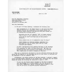 Letter written by President Maucker.
