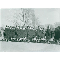 Photograph of WAVES marching to class.
