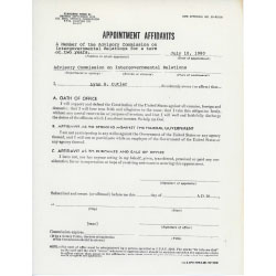 Image of an Appointment Affidavits for Lynn Cutler.