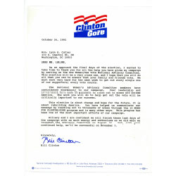 Image of a letter from President Bill Clinton to Lynn Cutler.