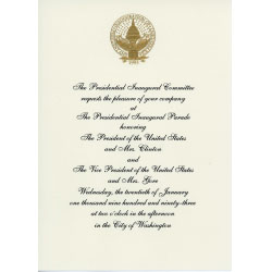 Image of an invitation to the 1993 Inaugural Parade.