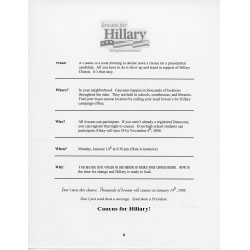 Image of flyer describing how to caucus for Hillary Clinton.