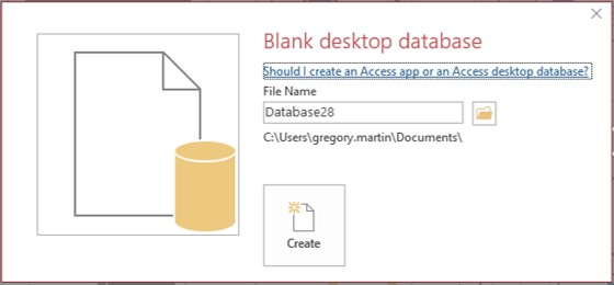 Access Blank Database dialog