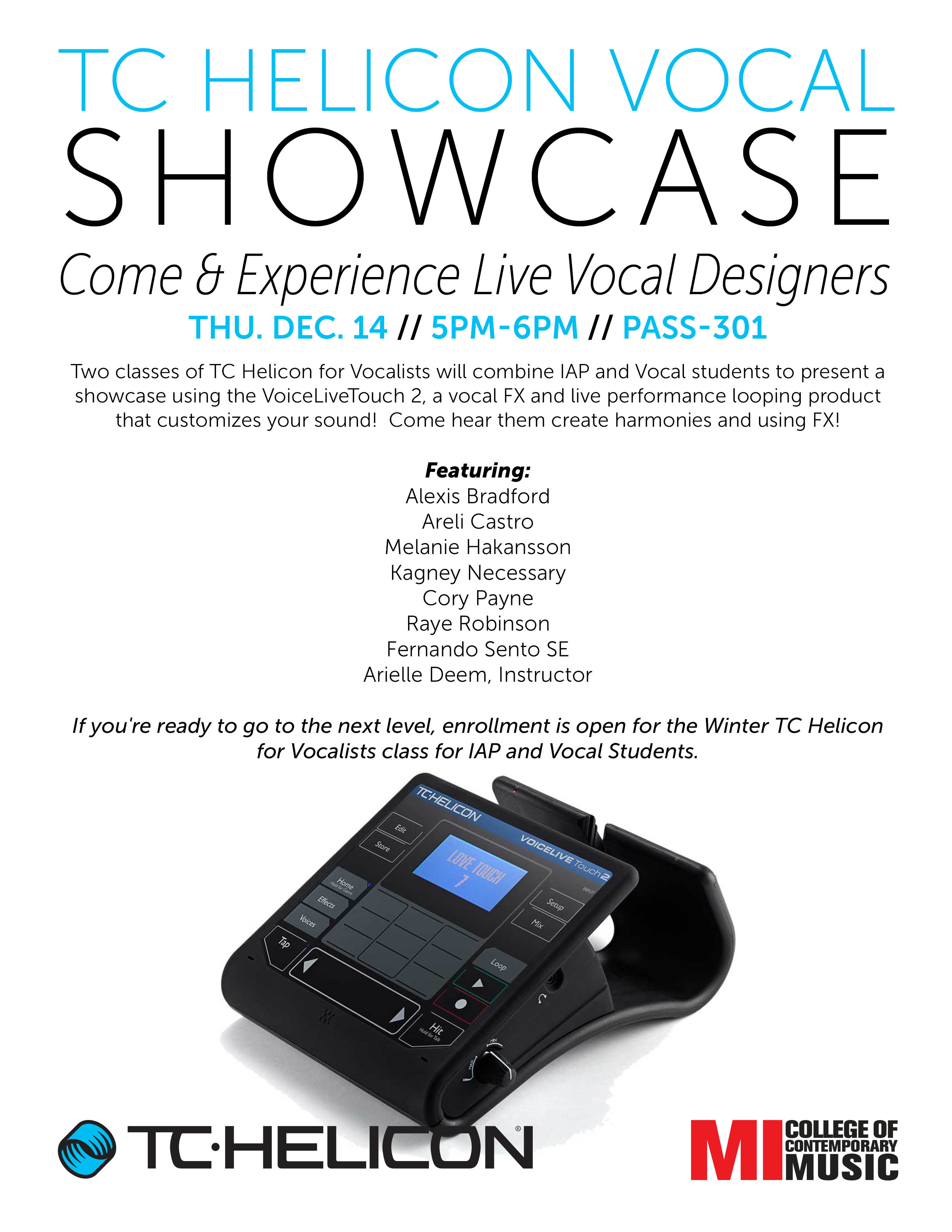 TC HELICON VOCAL SHOWCASE THURSDAY, DECEMBER 14, 2017 5-6PM