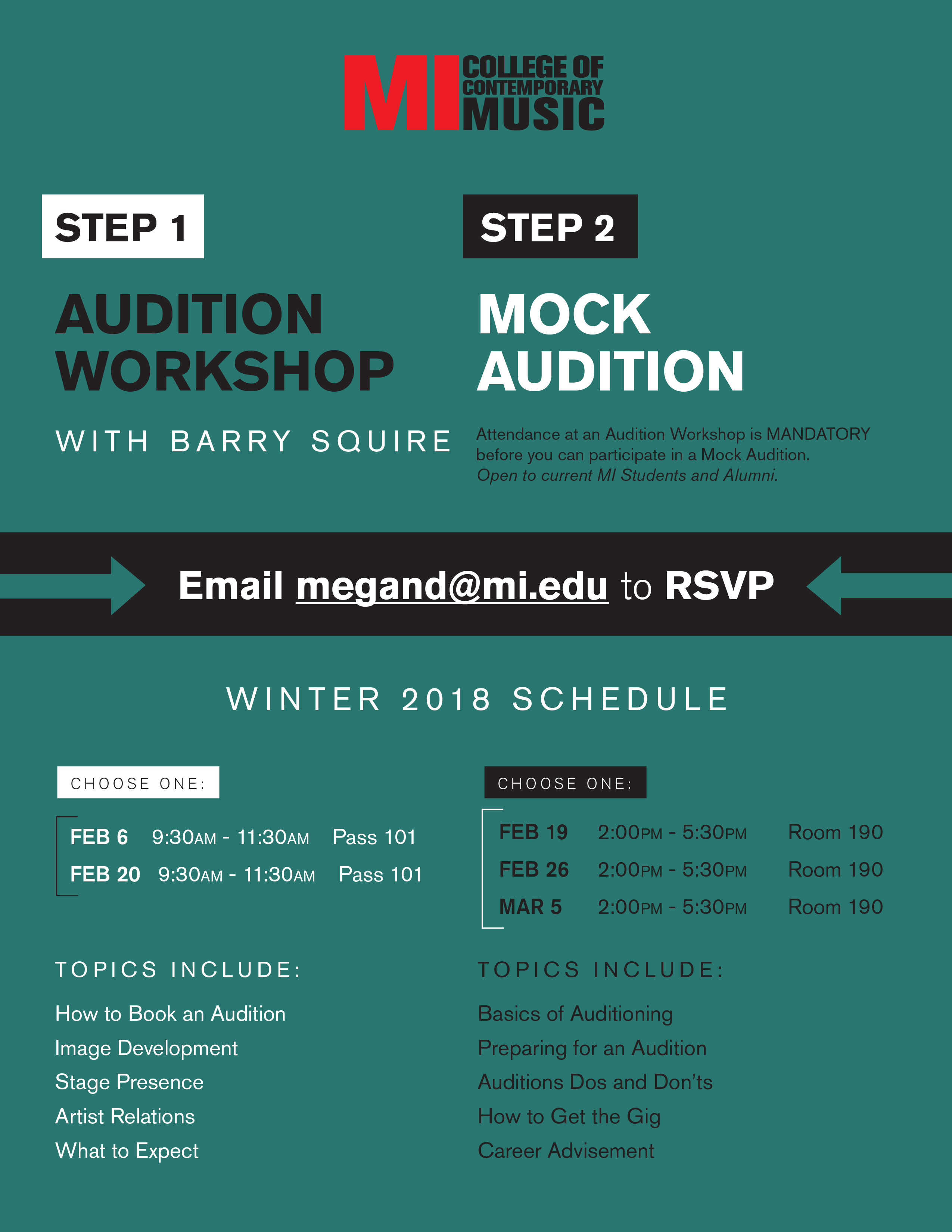 AUDITION WORKSHOP WITH BARRY SQUIRE TUESDAY, FEBRUARY 6, 2018 9:30-11:30AM