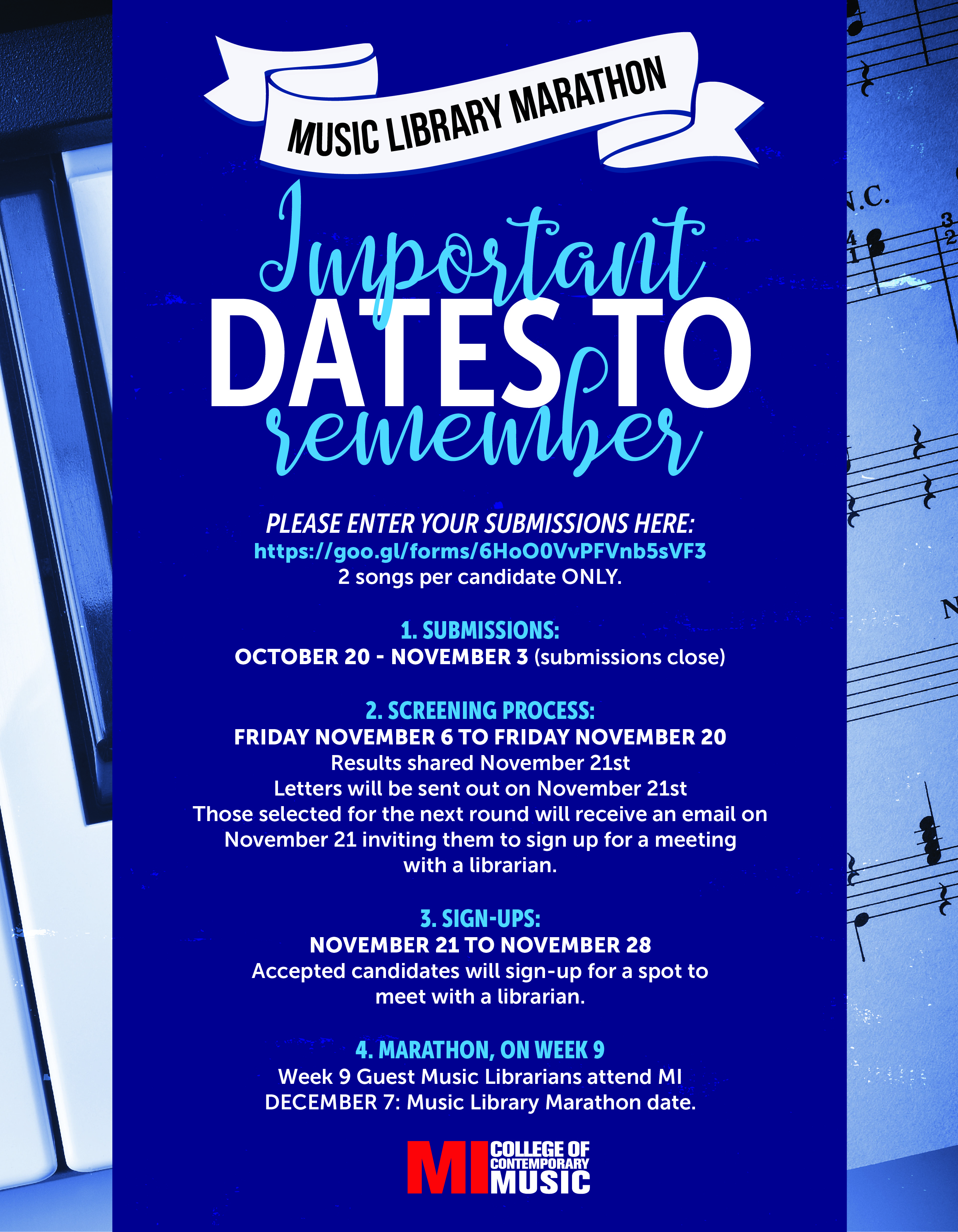 MUSIC LIBRARY IMPORTANT DATES TO REMEMBER - THURSDAY, DECEMBER 7, 2017