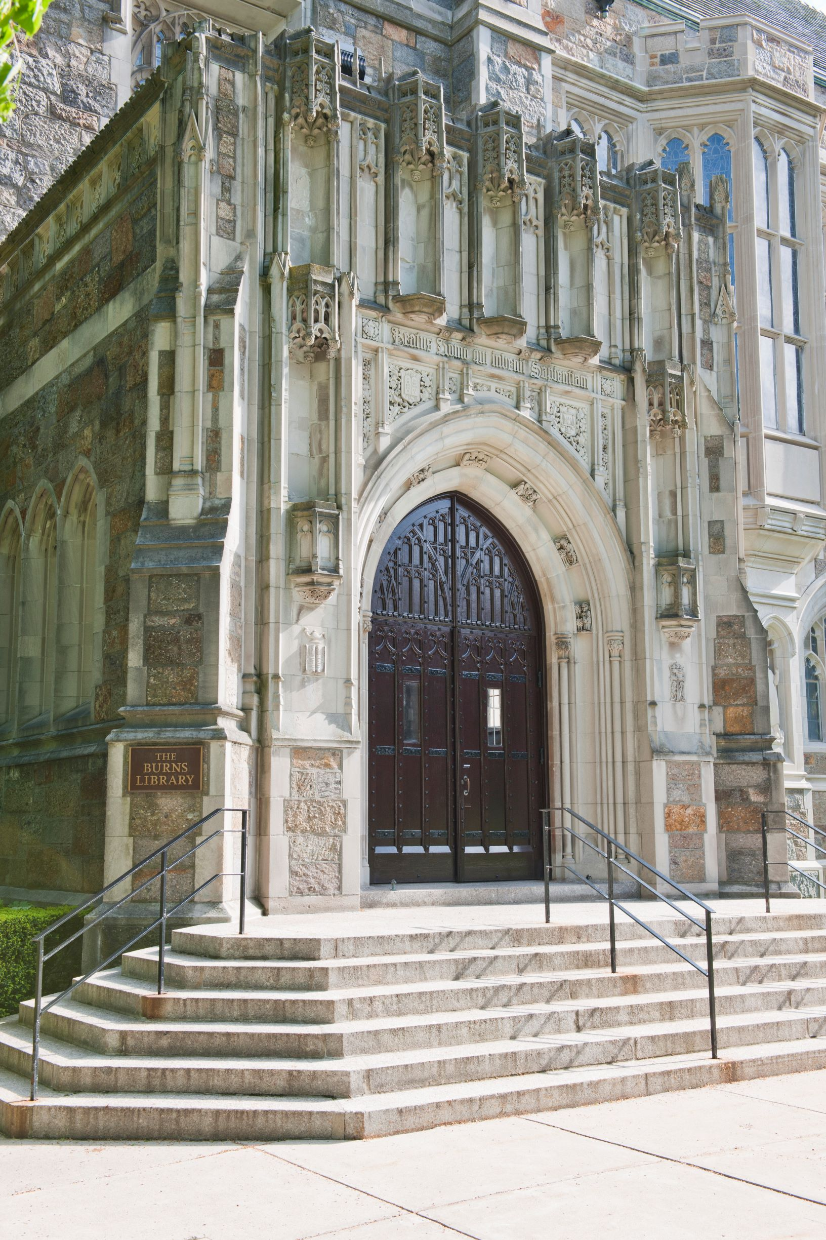 entrance stairs to Burns Library