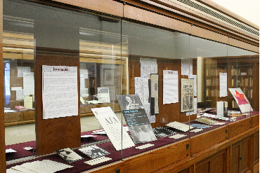 Exhibits case at Burns Library