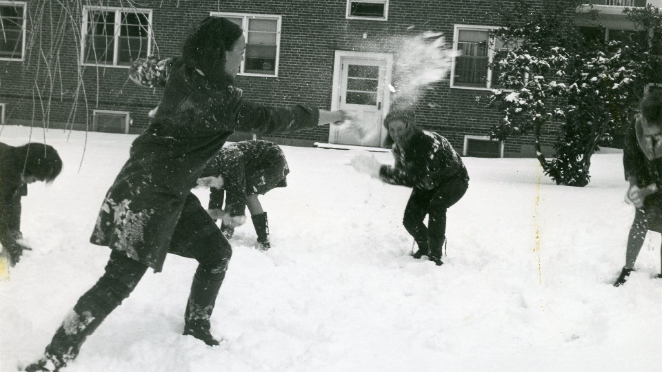 NCSH Snowball fight from Burns Library Facebook
