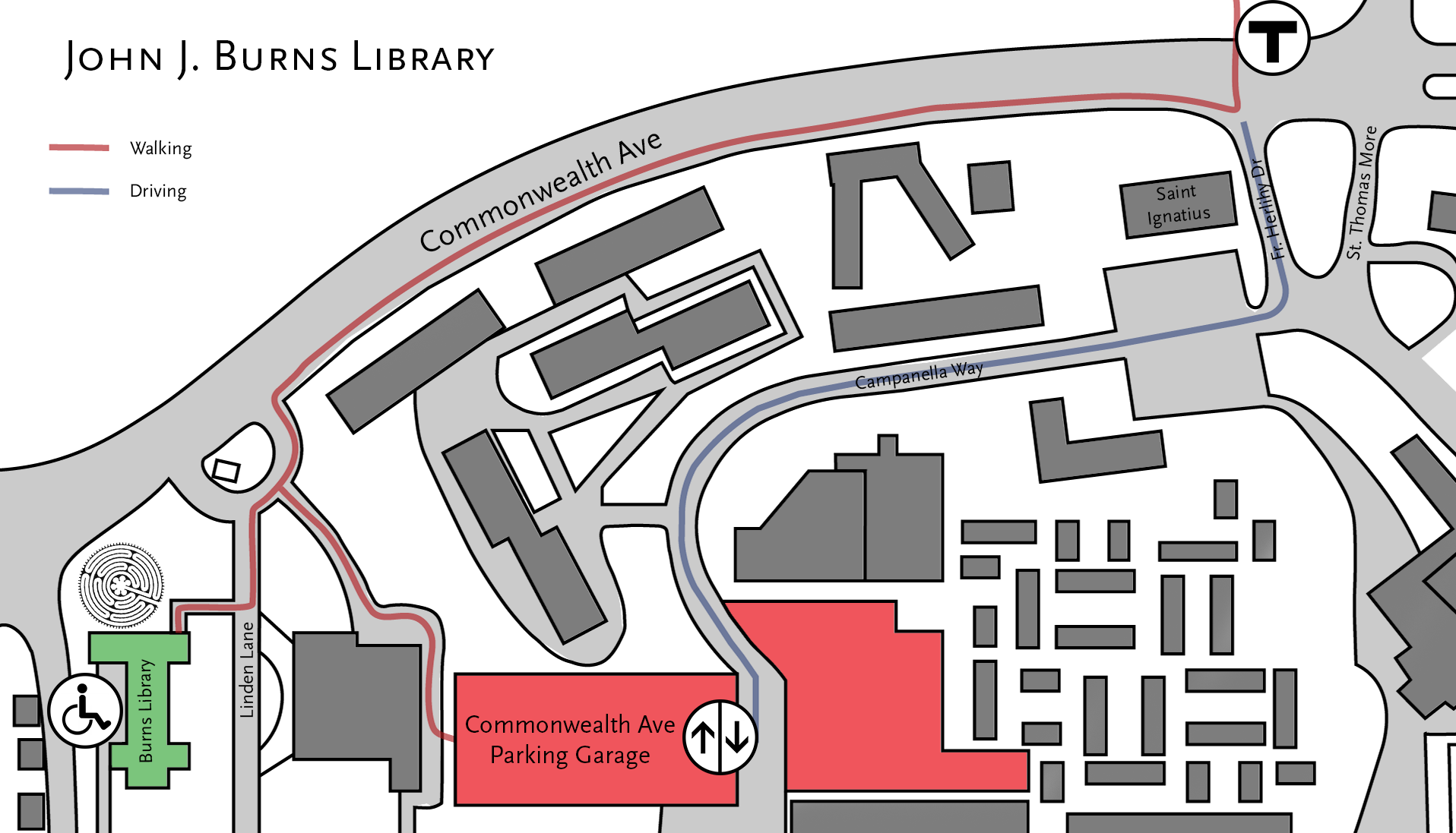 Map to Burns Library