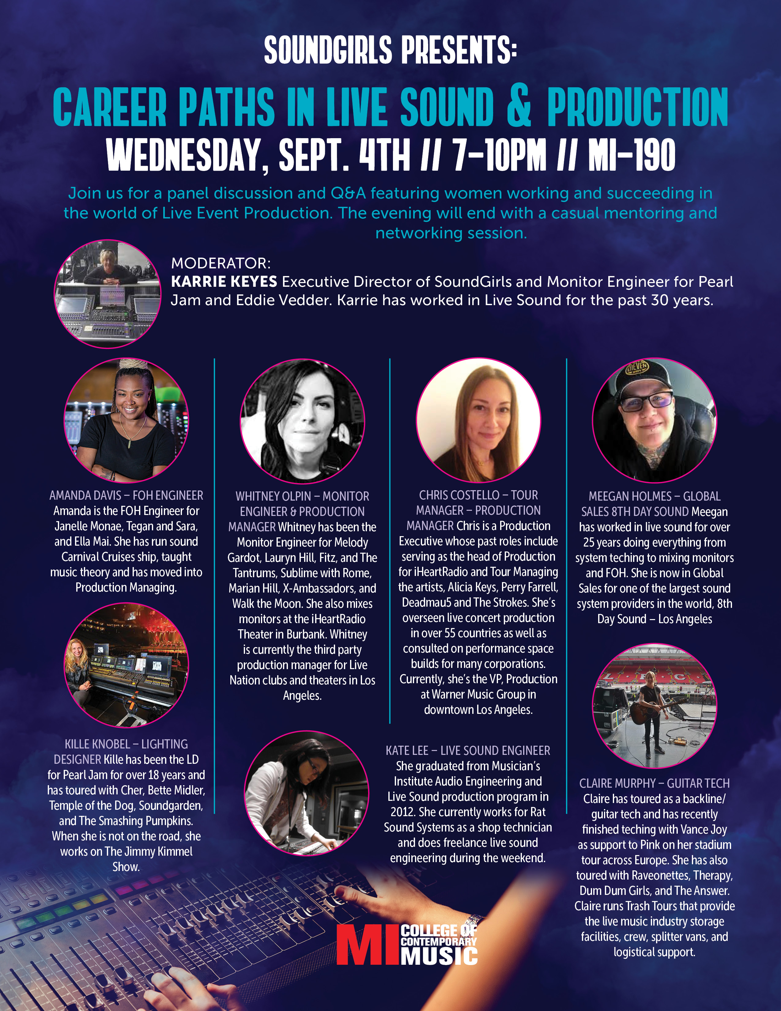 SOUNDGIRLS PRESENTS: CAREER PATHS IN LIVE SOUND & PRODUCTOIN WEDNESDAY, SEPTEMBER 4, 2019, 7 – 10PM