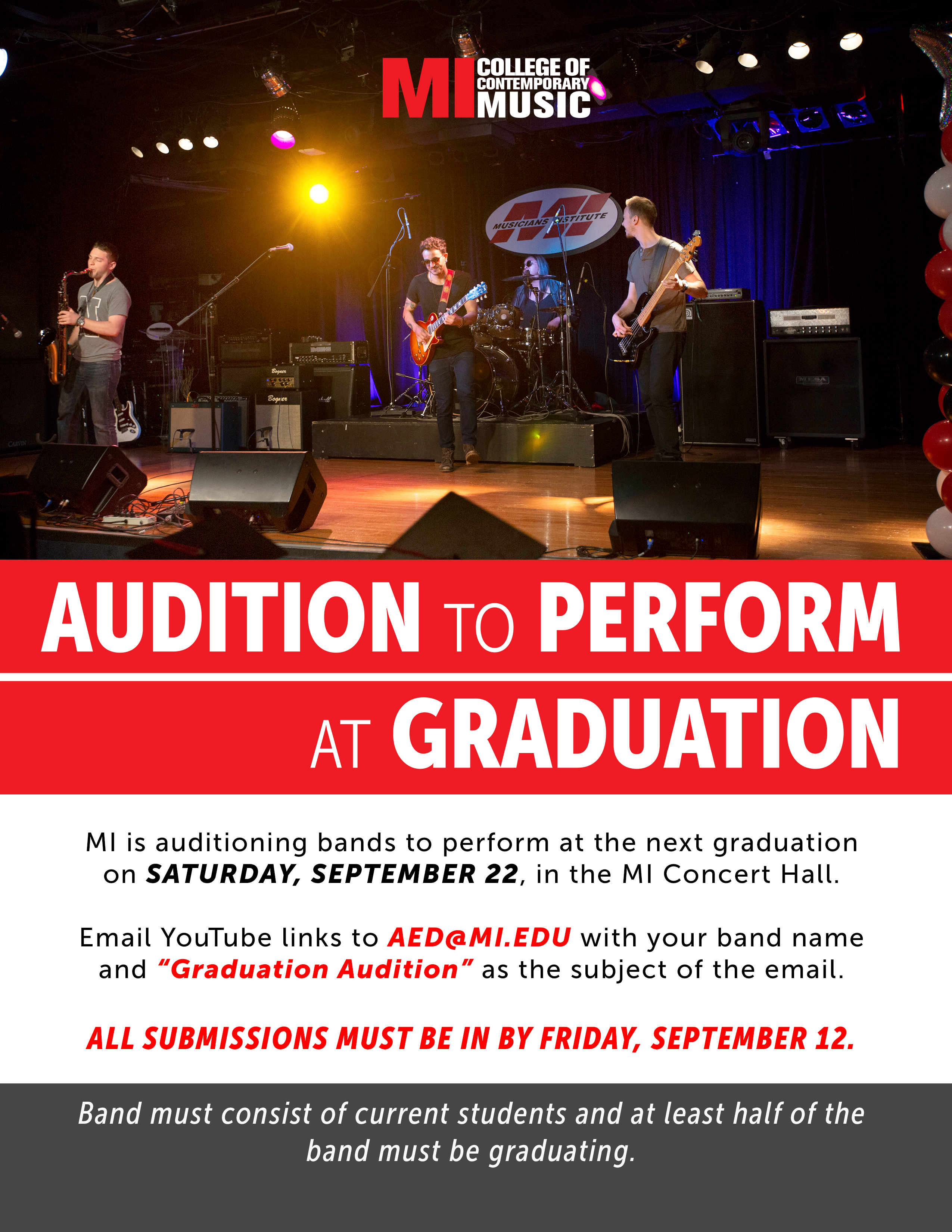AUDITION TO PERFORM AT GRADUATION WEDNESDAY, SEPTEMBER 5, 2PM – WEDNESDAY, SEPTEMBER 12, 2018, 11:55PM
