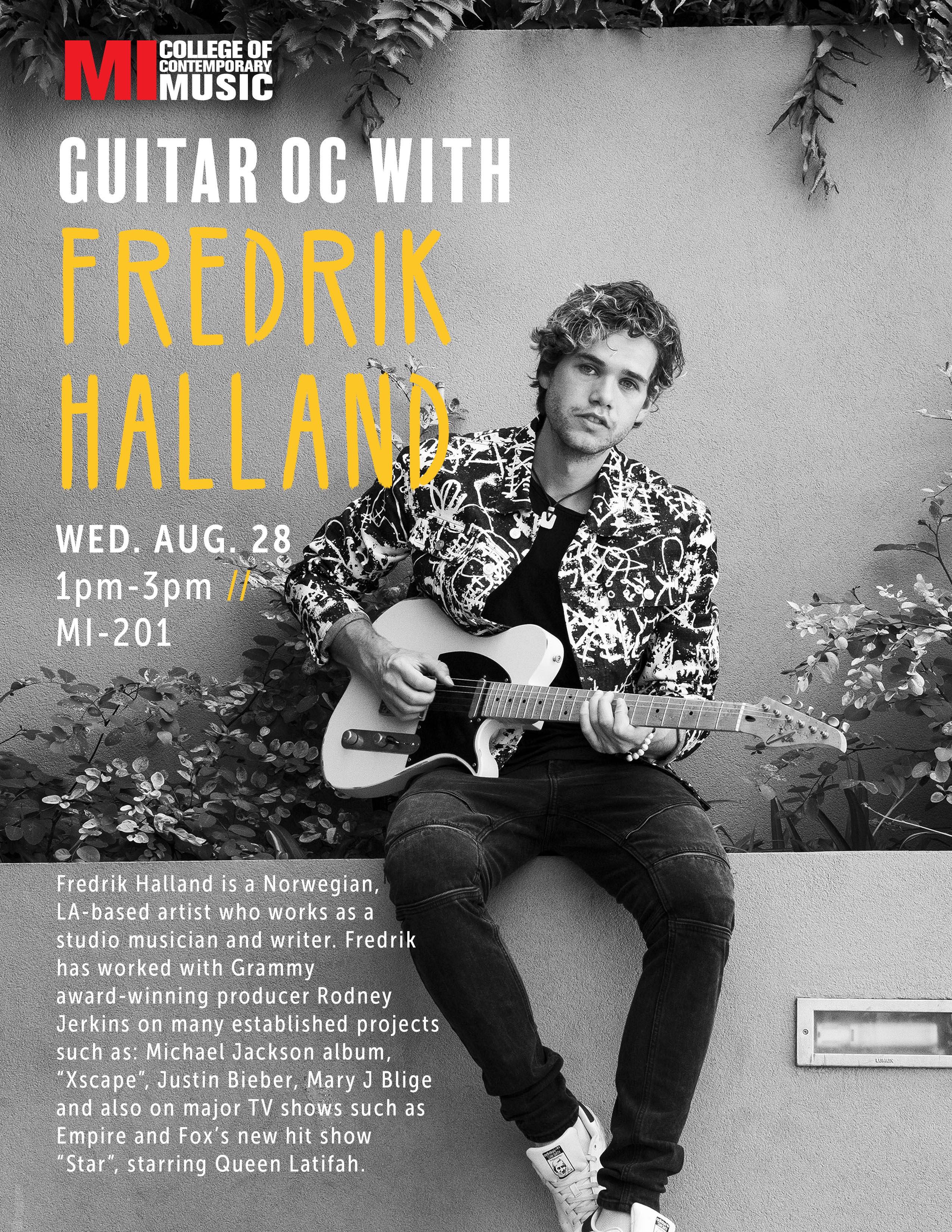 GUITAR OC WITH FREDERIK HALLAND WEDNESDAY, AUGUST 28, 2019, 1 – 3PM