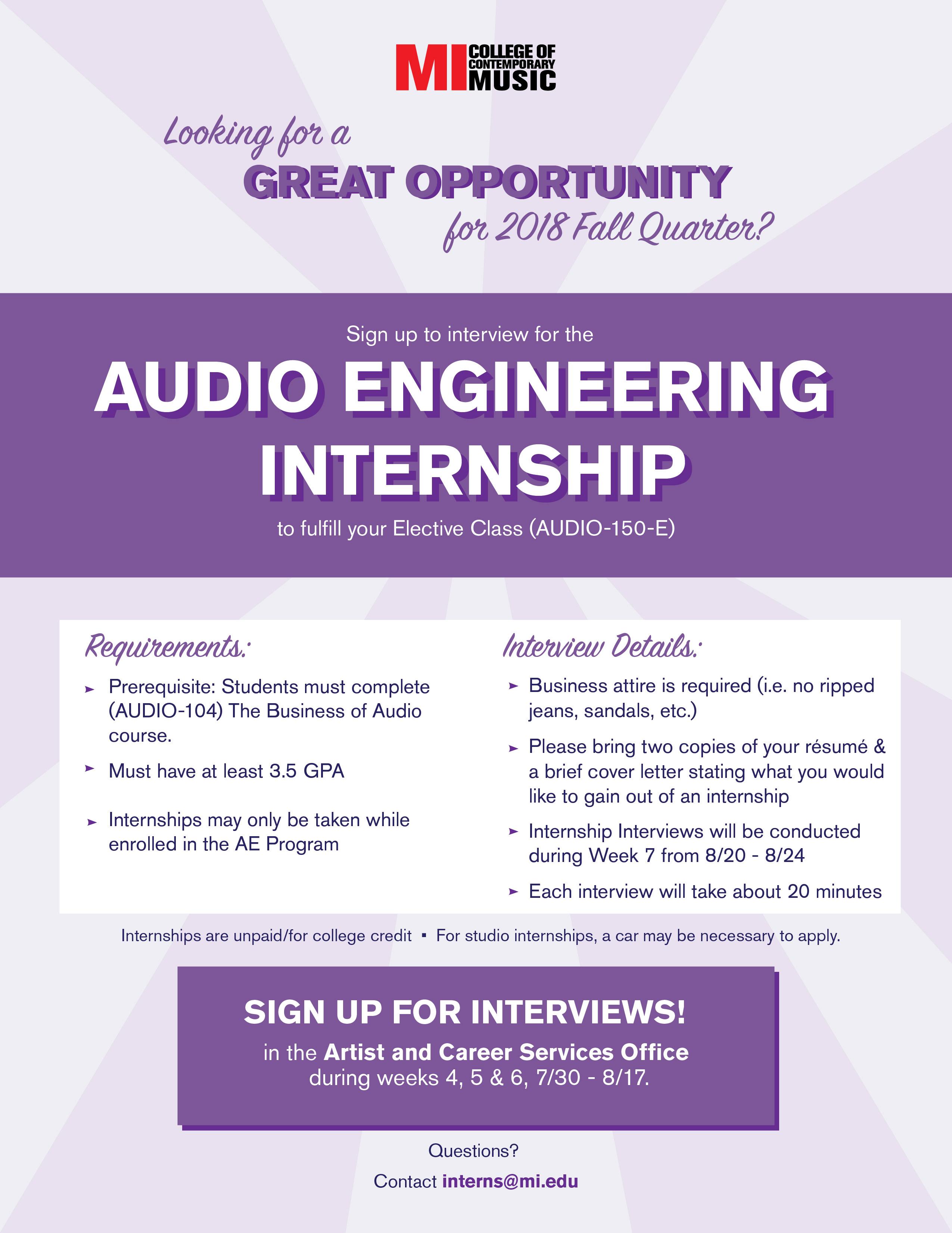 AUDIO ENGINEERING INTERNSHIP MONDAY, JULY 30, 8:30AM – FRIDAY, AUGUST 17, 2018, 5PM