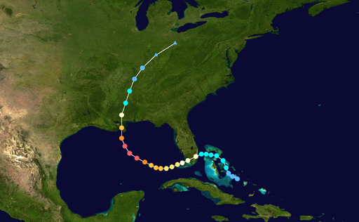 map of US with Hurricane Katrina path