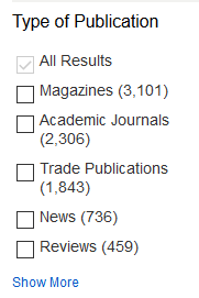 Types of publications in search