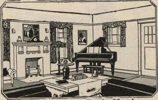 interior of Sears catalog home illustration