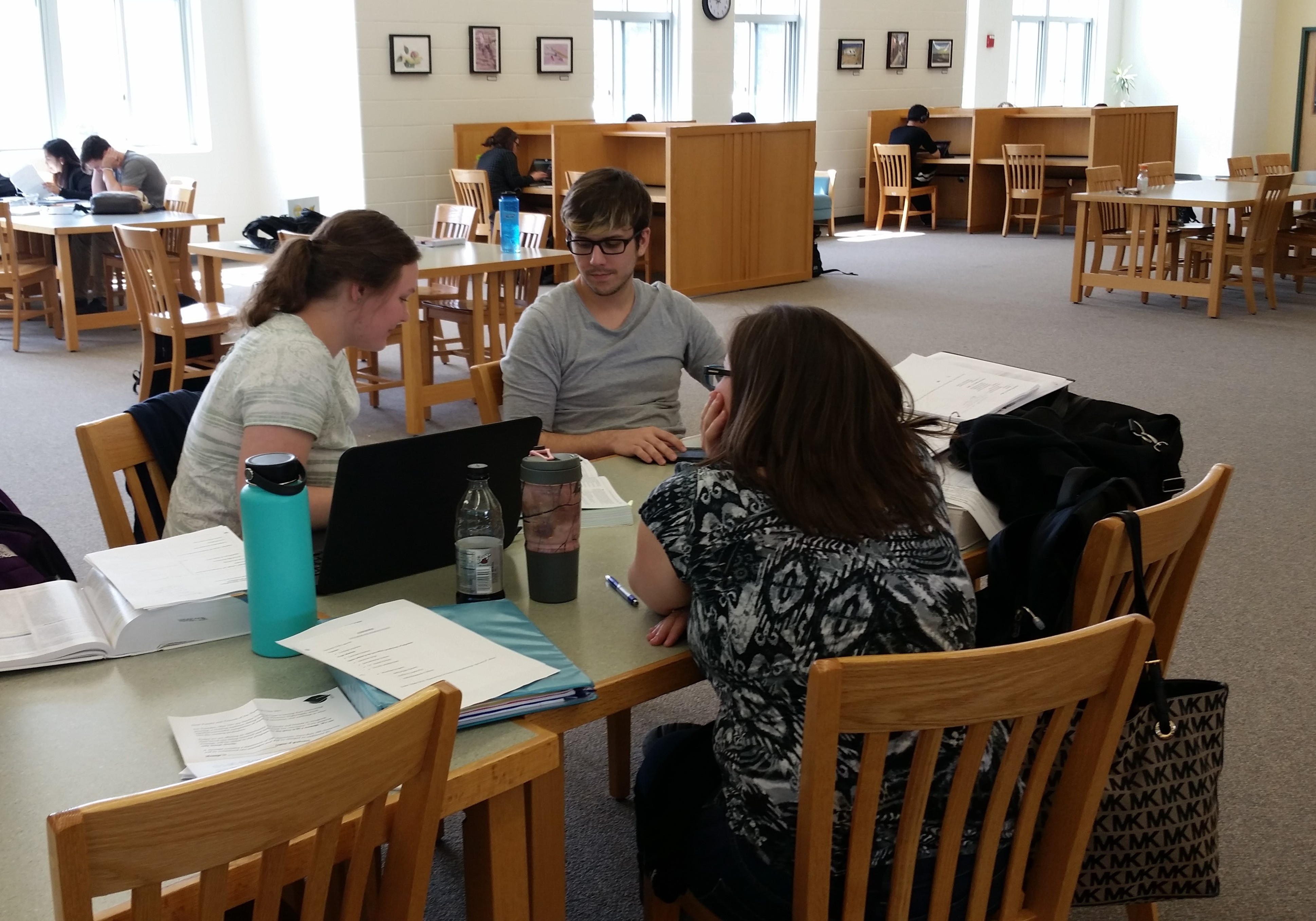 three students working in MCC library