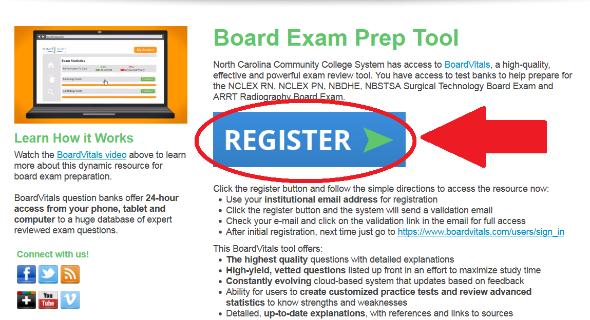Image of board vitals website, with a circle and arrow pointing to the register button.
