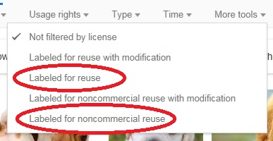Under usage rights tab, select either Labled for reuse or Labeled for noncommercial reuse.