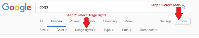 How to search Google Images. Step 1: Select Tools, Step 2: Select usage rights