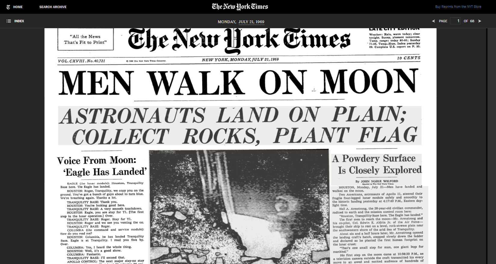 Front page of NY Times announcing moon landing