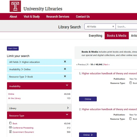 image of library search advanced for ebooks