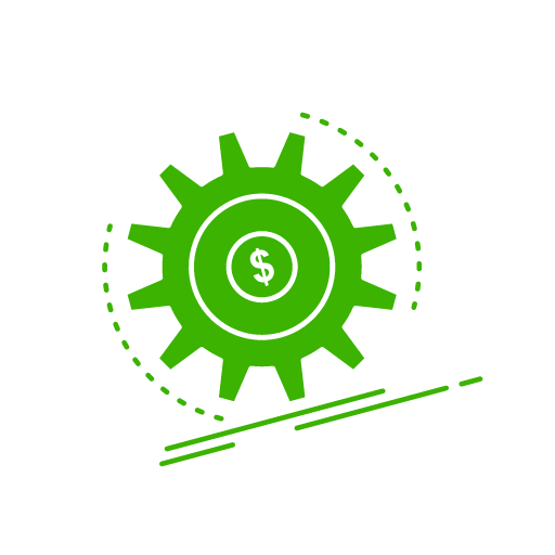 Image of green gear with $ in center going uphill