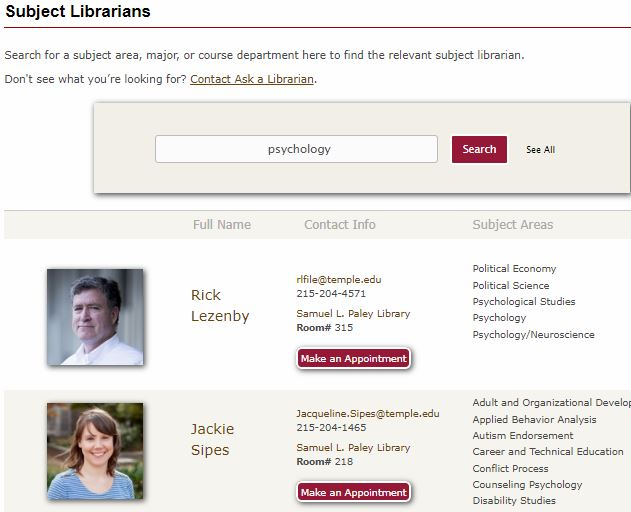 Subject Librarian search page