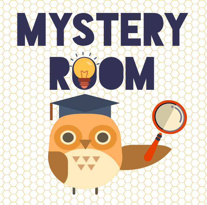 "Cute owl with idea bulb and magnifying glass ""Mystery Room"""