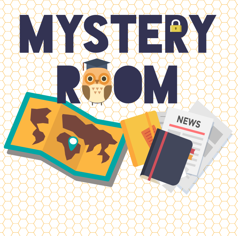 """Cute owl with map and notebooks """"Mystery Room"""""""