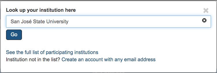 Selecting institutional affiliation on DMPTool