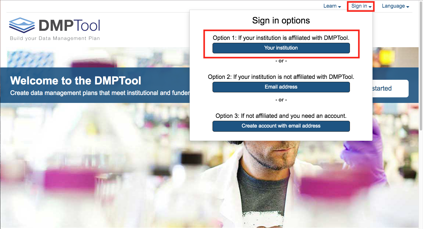 Signing into DMPTool