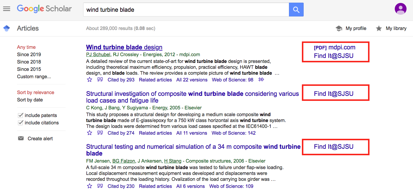 Sample Google Scholar Search Results
