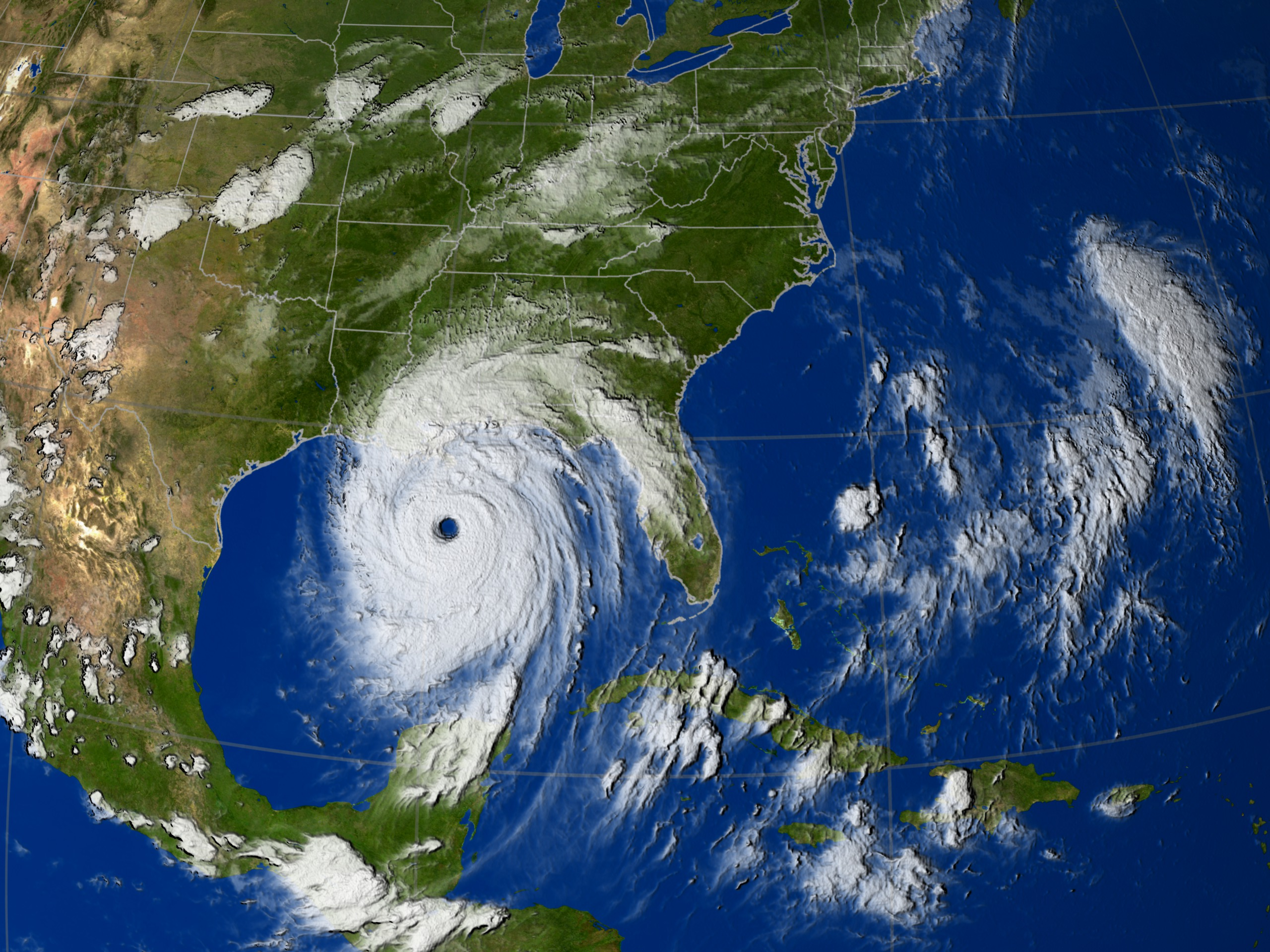 Hurricane Katrina IR clouds from GOES on 29 Aug 2005 at 00:15 GMT