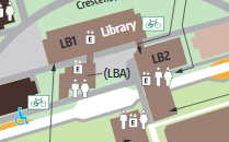 image of campus map, library portion