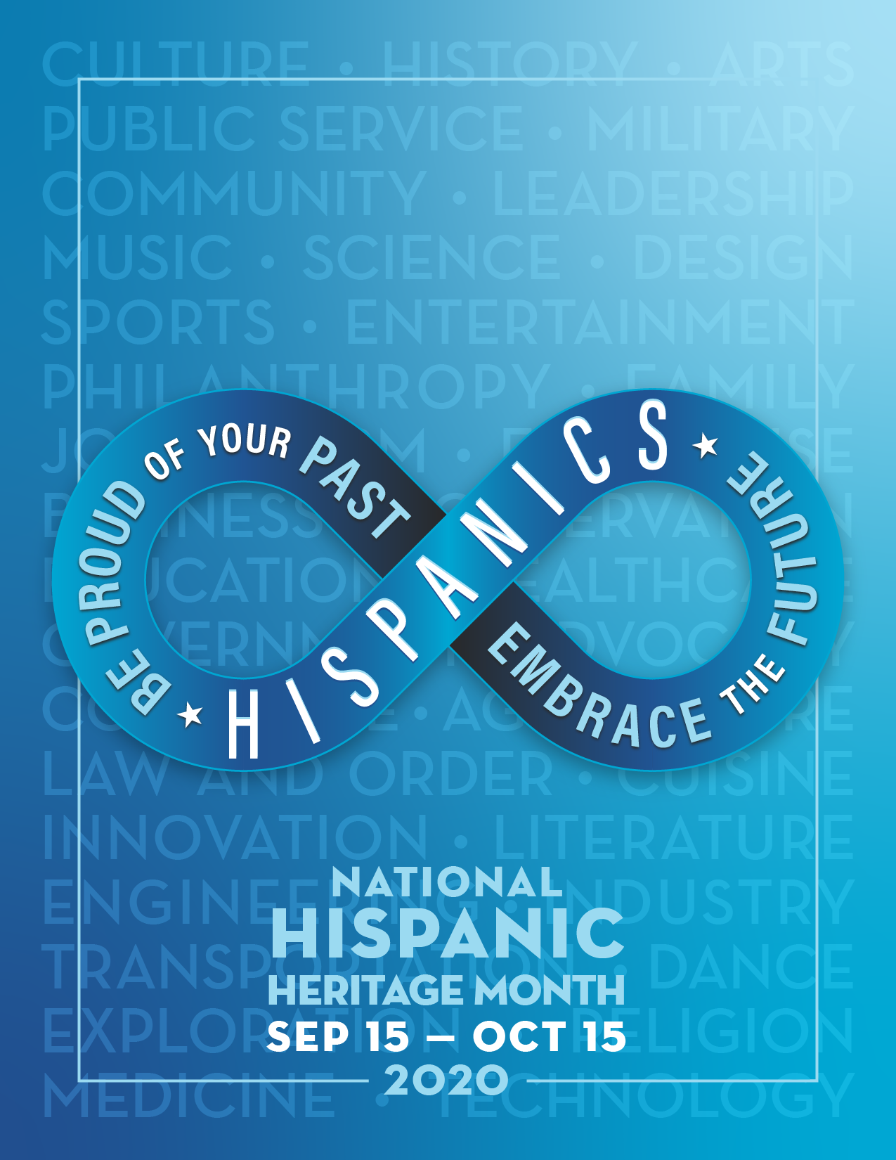 National Hispanic Heritage Month September 15th-October 15th Blue poster with dates