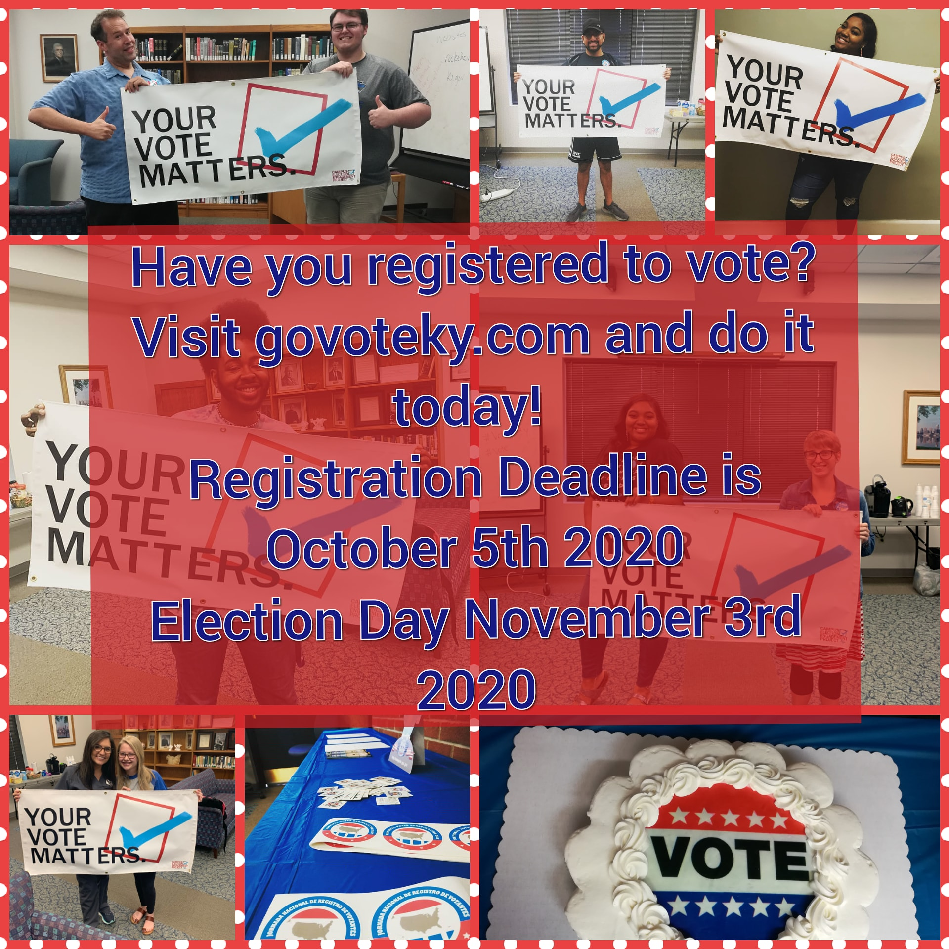 Register to vote! images from past event and displays from voter registration drive 2019