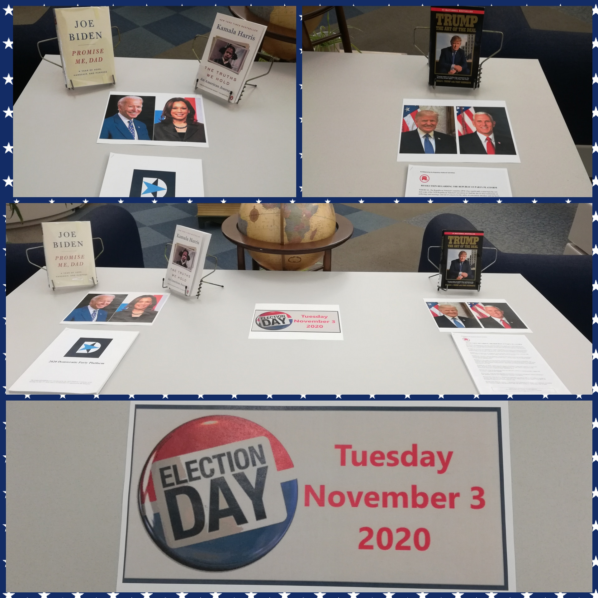 Election Day Display with books and info about the republican and democrat platforms