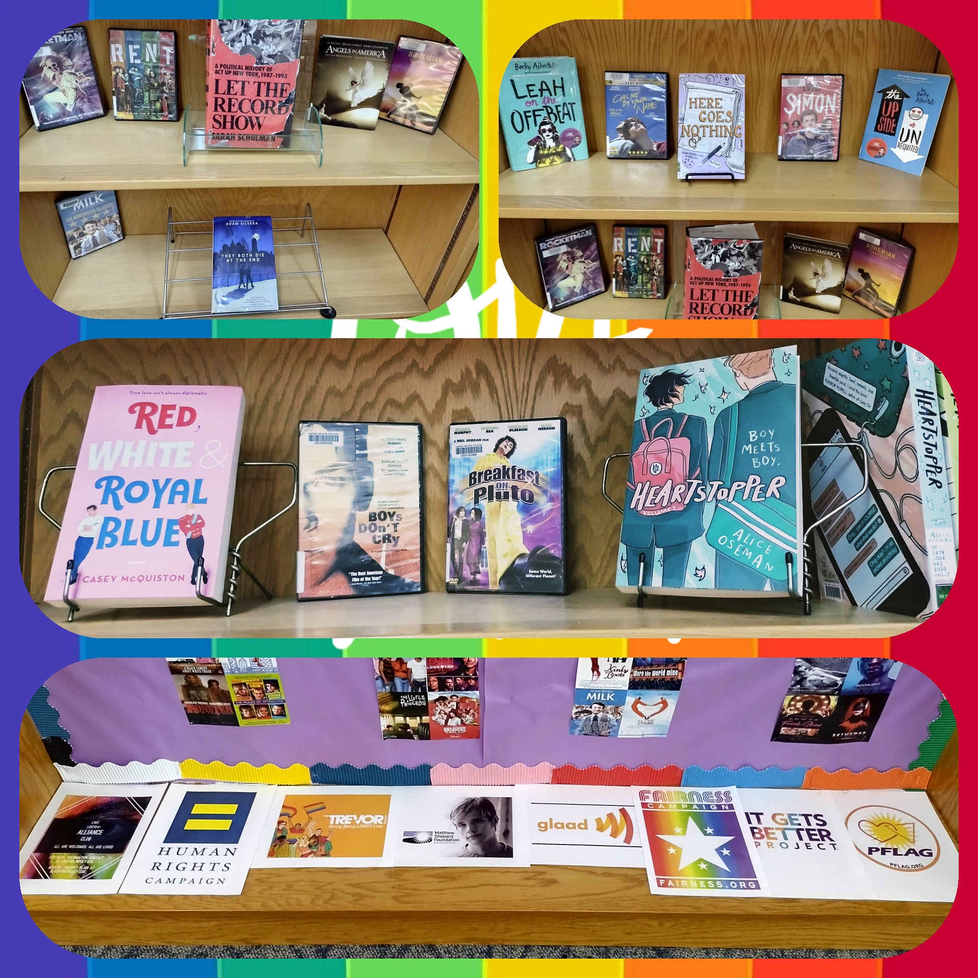 Books on display for Pride 2021