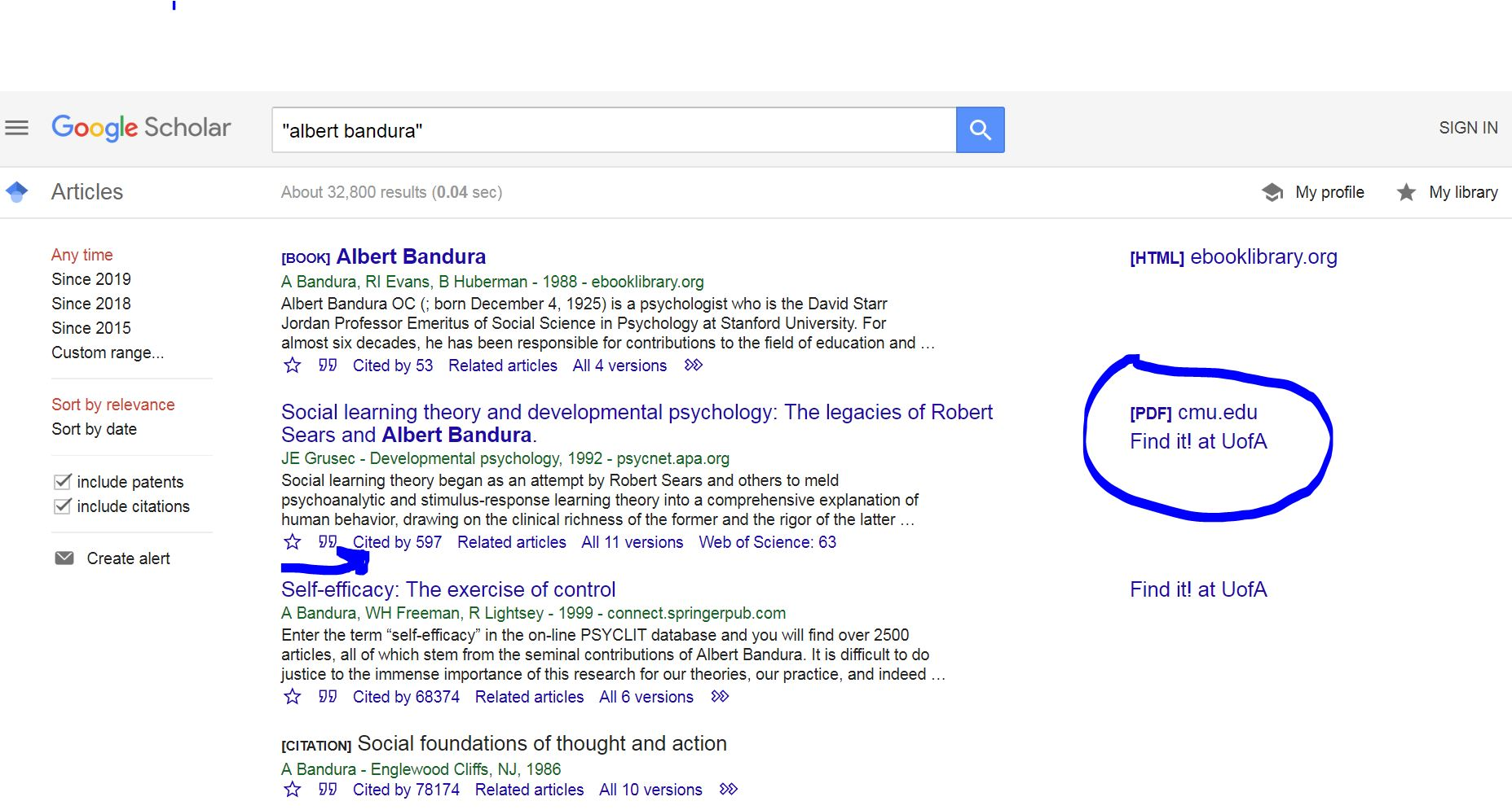 searching in google scholar with albert bandura's name within quotation marks; numbers of times cited are marked below the reference, and links on the right side go to the content if available.