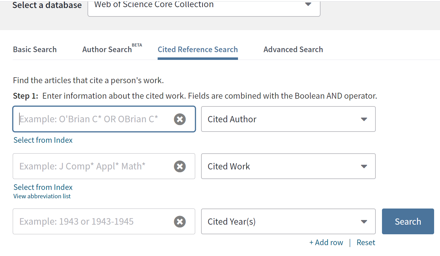 cited author search boxes in Web of Science