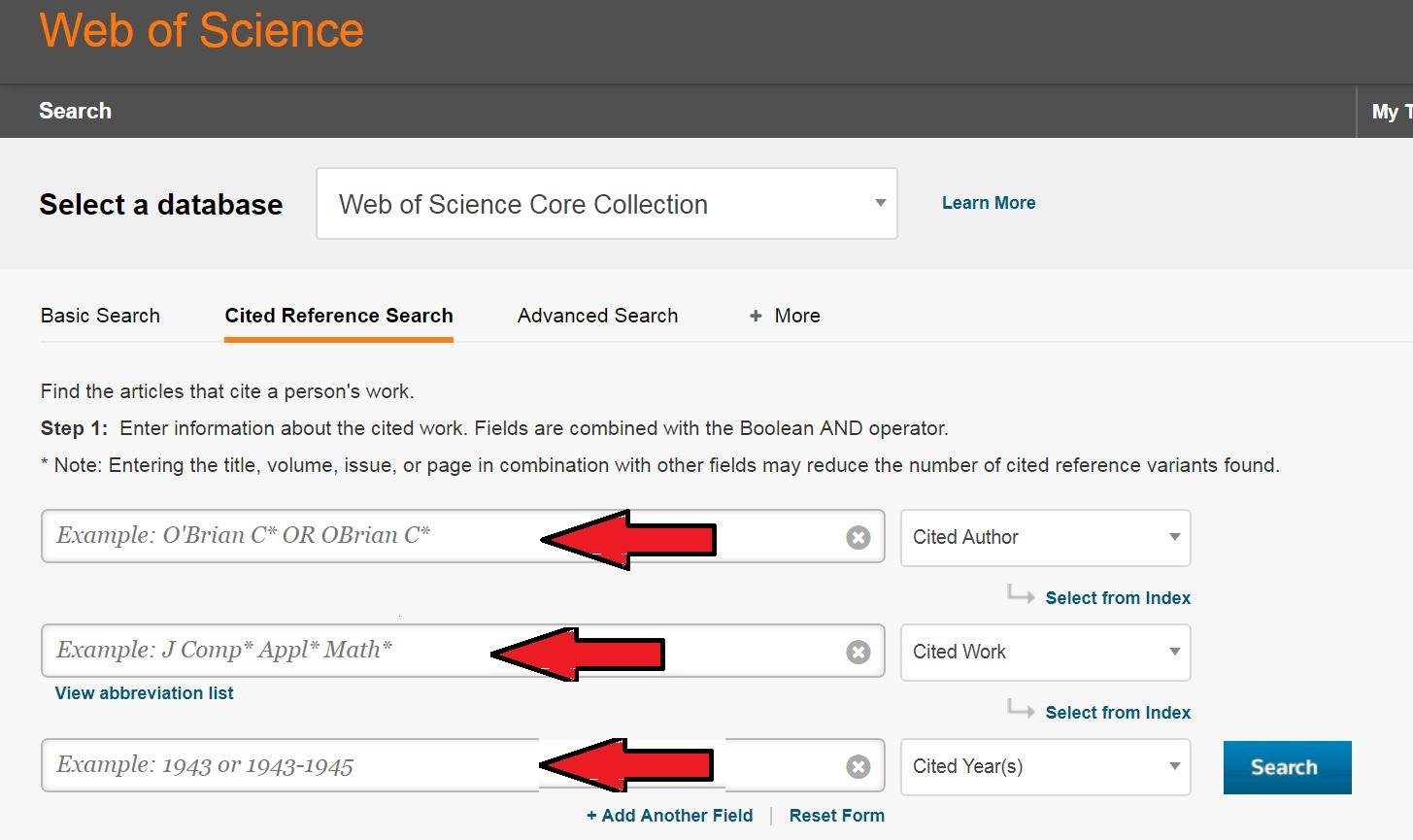 cited reference searching parameters