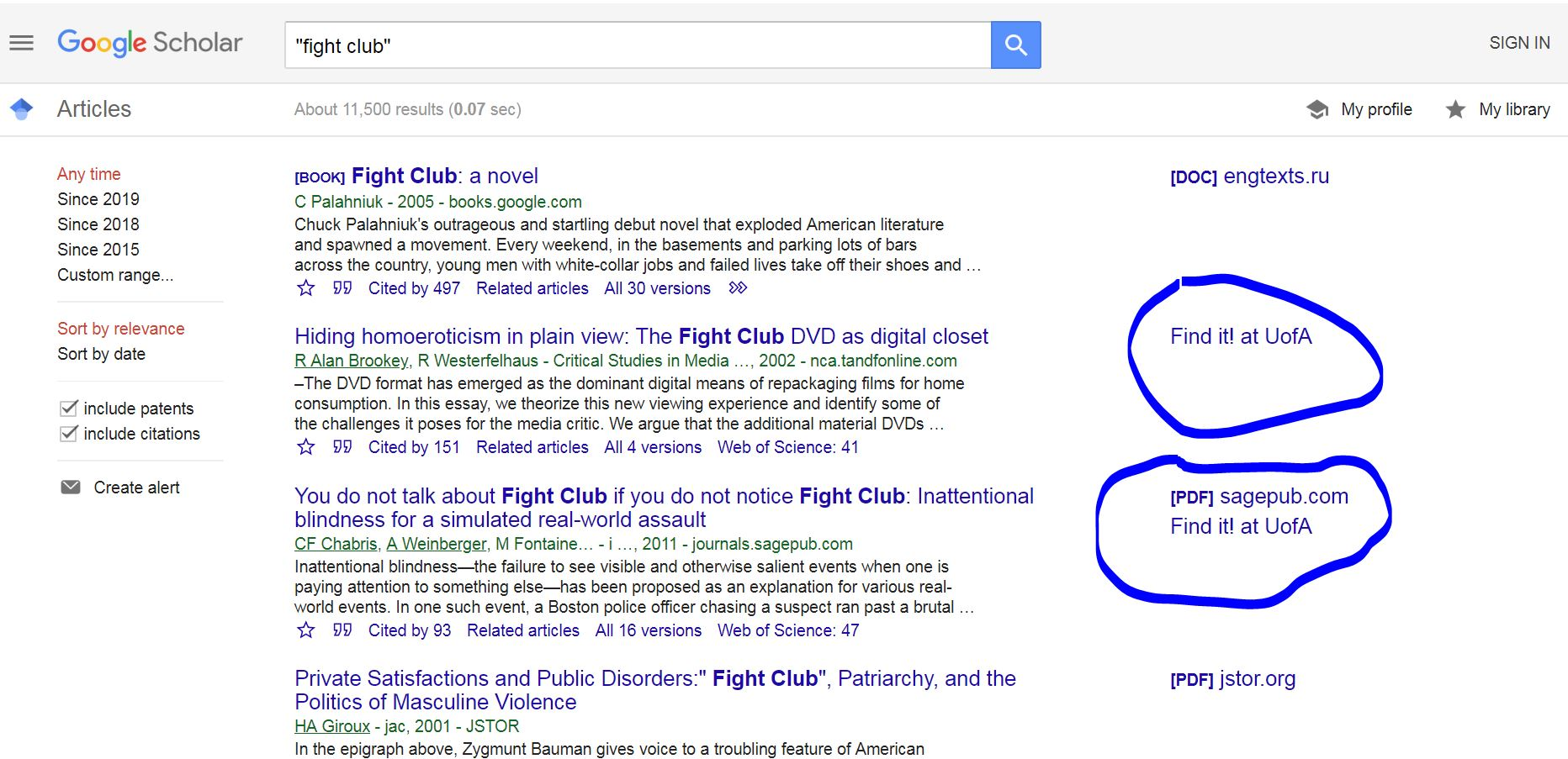"Google scholar search with ""fight club"" showing citations and"
