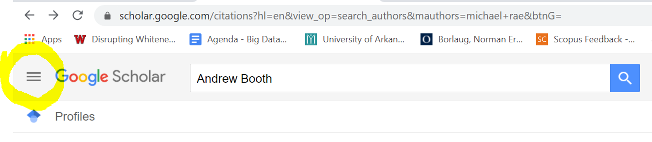 portion of screen showing where dropdown menu that has the link for Scholar Profiles under it.